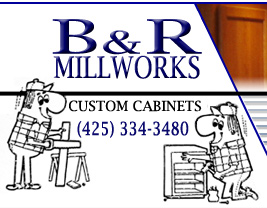 B&R Millworks Logo. B&R provides start to finish services for custom cabinets and remodeling.
